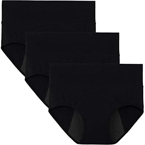 INNERSY Menstruation Unterwäsche Periodenslip Baumwolle Schwarz Period Panties 3er Pack (48, Schwarz)