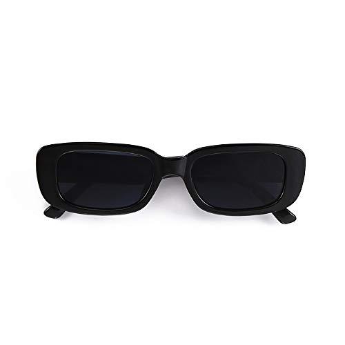 BOJOD Rectangle Sunglasses for Women Men Fashion Trendy Chunky Frame 90s Rectangle Sunglasses Black