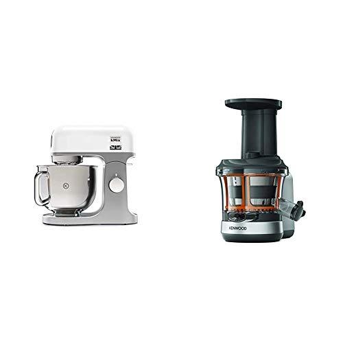 Kenwood kMix KMX750WH Küchenmaschine, 5 l Edelstahl Schüssel, Safe-Use-Sicherheitssystem, Metallgehäuse, 1000 Watt, weiß & Slow Juicer KAX720PL Zubehör für Kenwood Küchenmaschinen