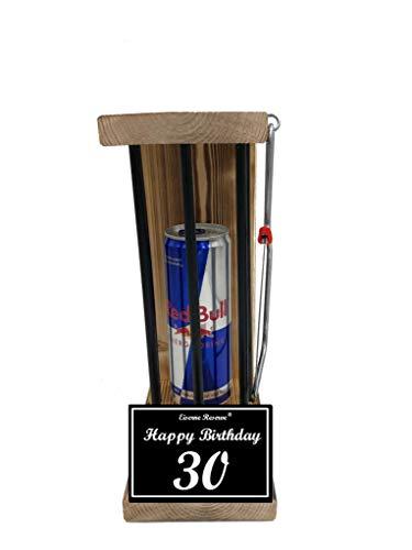 Happy Birthday 30 Geburtstag - Eiserne Reserve ® Black Edition Red Bull 0,473L incl. Säge - 30 Geburtstag Geschenk Idee für Männer & Frauen Geschenke zum 30 Geburtstag