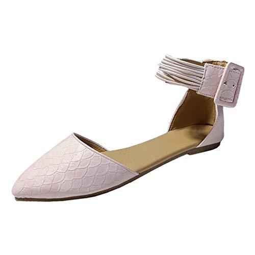 Dorical Damen Sandalen mit Flach Pointed Toe,Mutter Pumps,Elegant Römischer Sandaletten Vintage Oversize Hochzeitsschuhe für Frauen 35-43 EU(Rosa,41 EU)