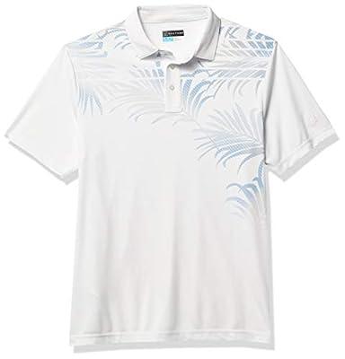 PGA TOUR Men's Short Sleeve Asymmetrical Printed Polo Shirt, Bright White/Palm, X Large