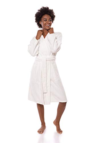 Texere Women's Knee Length Terry Robe (Megeve, Natural White, 2X/3X) Plush Robe