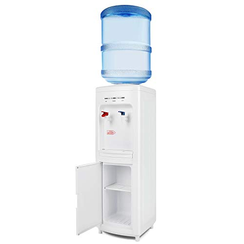 COSVALVE 5 Gallon Top Loading Water Dispenser, Electric Hot Cold Water Cooler Dispenser with Child Lock and Storage Cabinet for Home Office Use, White…