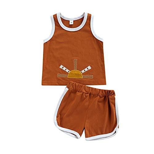 Traje de verano para niñas pequeñas con bordado de sol y cuello redondo + pantalones cortos elásticos en la cintura