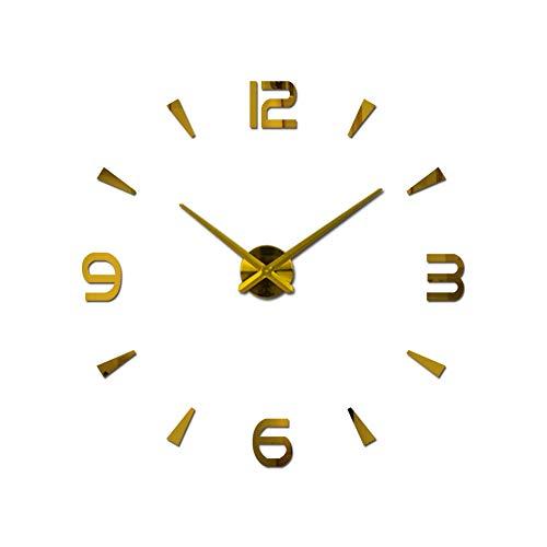 Reloj de pared con espejo acrílico, moderno, silencioso, 3D, sin marco, grande, adhesivo de metal, extraíble, gran reloj, decoración para el hogar y la oficina (dorado)