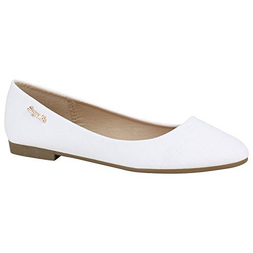 stiefelparadies Klassische Damen Ballerinas Leder-Optik Flats Modisch Schuhe 155239 Weiss Arriate 38 Flandell