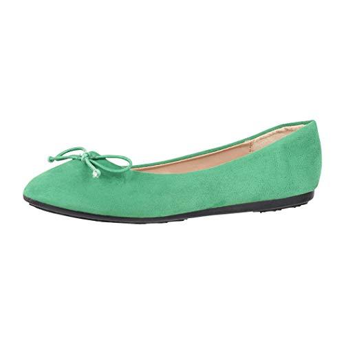 Elara Damen Ballerina Bequeme Slip-Ons Flach Chunkyrayan DY-09-Green-39
