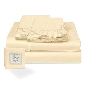 Pizuna Juego de sábanas algodón de 400 Hilos Crema Cama 180cm, 100% algodón Tejido de satén Suave y Transpirable con 1 sábana Plana + 1 sábana Ajustable + 2 Cilíndrica Fundas de Almohada