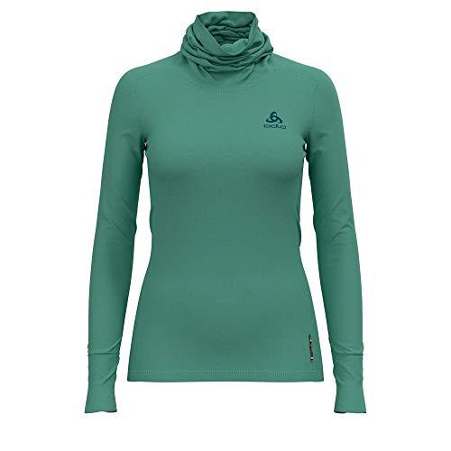 Odlo Damen BL TOP Turtle Neck l/s Natural 100% Merino WARM Unterhemd, Malachite Green - Grey Melange, M