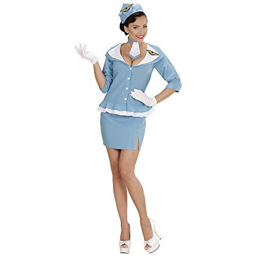 Widmann 06631 - Erwachsenenkostüm Retro Hostess, Jacke, Rock, Krawatte und Hut, Flugbegleiterin, Stewardess, Karneval, Mottoparty