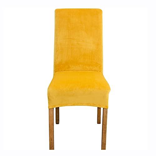 PLHSD Fundas de terciopelo para sillas de comedor, fundas elásticas extraíbles y lavables, para hoteles, restaurantes, bodas, comedores, banquetes (color: amarillo, tamaño: 6 unidades)