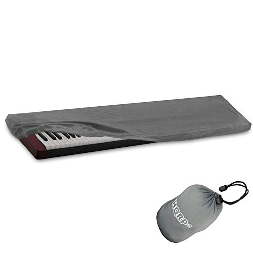 HQRP Tastatur Staubschutz für Yamaha MOTIF XF7, Piaggero NP-31 NP-11 NP-V60 NP-V80, S70-XS, Tyros-5, YPG-235, DGX-300, YPG-225 Digital Piano Synthesizer + HQRP Untersetzer grau