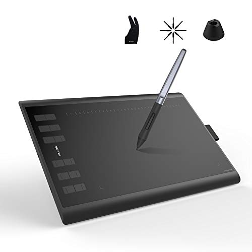 Huion Inspiroy H1060P Graphics Drawing Tablet with Tilt Response Battery-Free Stylus and 8192 Pen Pressure Sensitivity