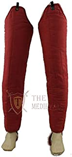 The Medival Shop Thick Padded Medieval Lagging Gambeson Chausses Lower Under Hauberk Armor - Red, 40 Length