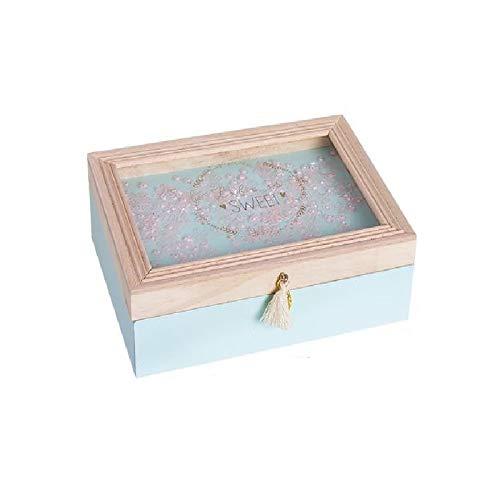Dream Hogar Caja Decorativa Tapa Cristal Juliette Madera 18x13x6cm (Azul)