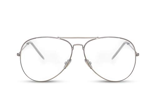 Cheapass Gafas de Sol Piloto Montura Plateada Lentes Transparentes