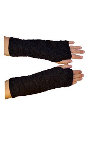 Posh Gear Damen Alpaka Handstulpen aus 100% Alpakawolle, schwarz