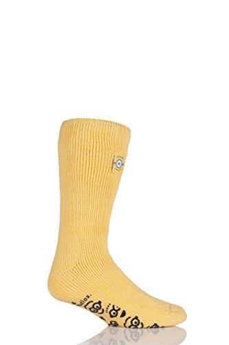 HEAT HOLDERS Jungen und Mädchen 1 Paar Wärme Halter Minions Slipper Socken mit Grip Yellow 12,5 bis 3,5 Kinder
