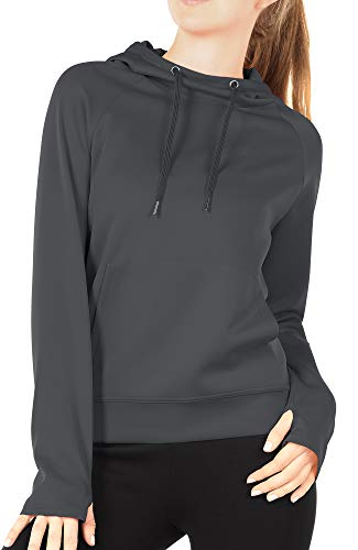 icyzone Workout Hoodie for Women - Athletic Running Pullover Long Sleeve Shirts with Pocket and Thumb Holes (M, Dark Gray)