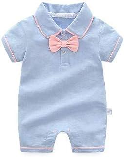 الصيف الطفل شهم الصبي جريل السروال القصير القطن الوليد الملابس بذلة طفل أطفال (Color : Blue, Kid Size : 6M)