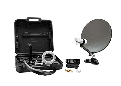 Xoro MCA 38 HD Set 38,5 cm Camping Satellitenantenne inkl. FullHD DVB-S2 Receiver, Single LNB mit integriertem Satfinder und 10m Antennenkabel im Hartschalenkoffer, grau