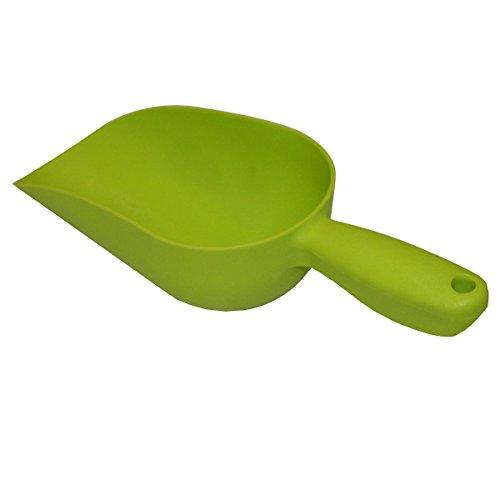 Bolsa Xclou en verde, cubeta de alimentación de plástico de alta calidad, pala de jardín con mango, pala de mano como accesorio de jardín y para las necesidades de la mascota