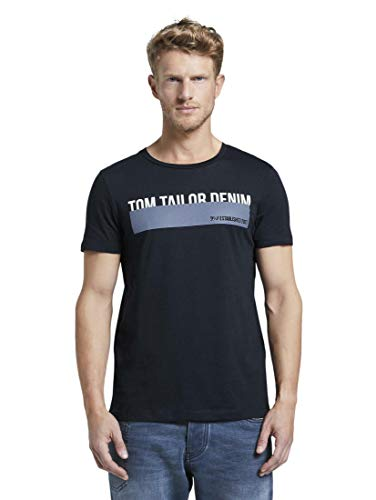 Tom Tailor Print T-Shirt, Sky Captain Blue, M Uomo