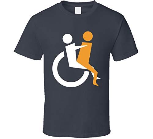 GORONYA T-Shirt mit Behinderten-Symbol für Rollstuhl, Anthrazit Gr. XXL, beige