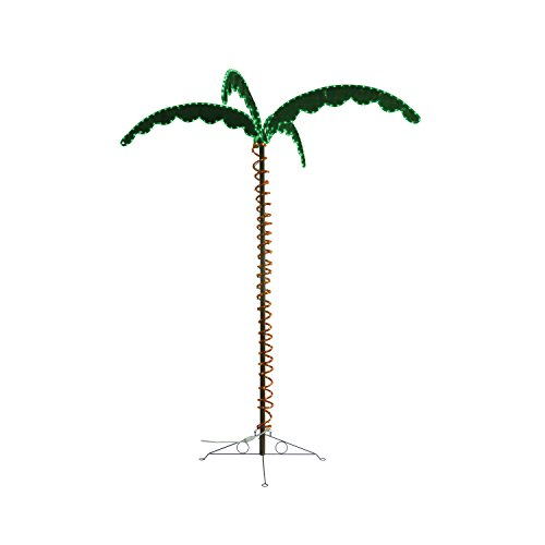 Green LongLife 7-Feet Decorative Lighted Palm Tree - Holographic Rope Light for Indoor and Outdoor Use