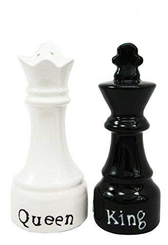King And Queen Checkmate Chess Ceramic Salt Pepper Shaker Magnetic Set Figurines