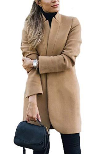 Duffle Cappotto Donna Eleganti Moda Business Giacca da Tailleur Autunno Invernali Lunga Blazer Cardigan Collo Coreana Manica Lunga Caldo Blazer Lungo (Cachi,XL)