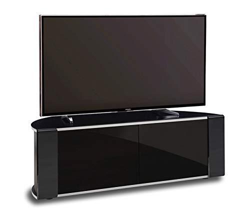 MDA Designs Sirius 1200 Remote Friendly Beam Thru Glass Door Gloss Piano Black with Black Front Profiles & Brushed Aluminium Trim 40
