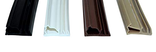 SN-TEC Universal Haustürdichtung/Türdichtung SNSK 312 (Gesamtbreite 19mm) für 5mm Nut, 12mm Falzbreite, 3 bis 8mm Anschlagluft (6 Meter) Farbauswahl: Schwarz/Weiß/Braun/Beige (Schwarz)