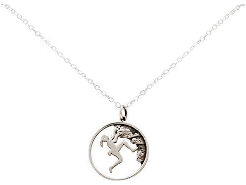 Gemshine Alpin Berg Klettern Halskette in 925 Silber, hochwertig vergoldet oder rose. Sportschmuck - Made in Madrid, Spain, Metall Farbe:Silber
