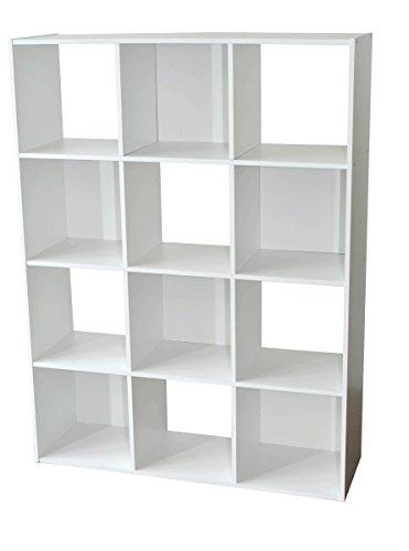 Compo Meuble de Rangement 12 Casiers Bibliothèque Etagères Cubes Blanc 92 x 30 x 123 cm