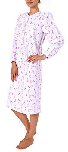 NORMANN-Wäschefabrik Damen Finette Nachthemd fraulich mit Knopfleiste am Hals - auch in Übergrössen - 61885, Größe2:40/42, Farbe:pink