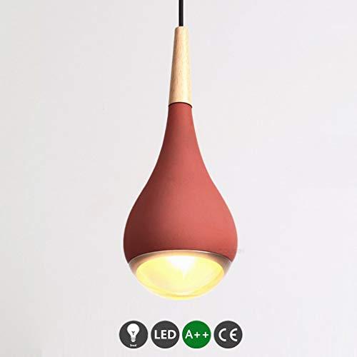SGWH LED betonlamp hanglamp moderne hanglamp eetlicht industrieel beton cement rood rond design lamp eettafel lamp in hoogte verstelbaar binnenverlichting woonkamer G9 acryl & Oslash;
