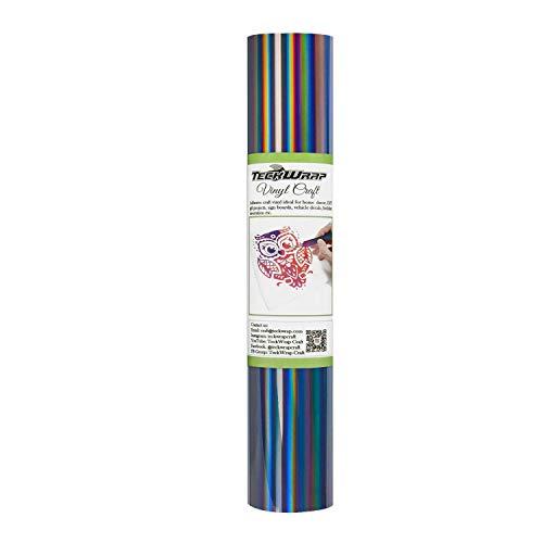 TECKWRAP Glossy Rainbow Holographic Dark Gray Chrome Vinyl 1ftx5ft