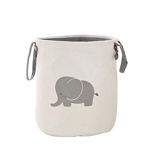 laamei Cesta para Lavandería Cestos Plegable Almacenamiento de Ropa Sucia Juguetes Organizador de Lona de Gran Tamaño con Diseño Elefante(35x40cm)