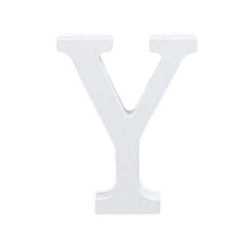 Décorations Fablcrew en forme de lettres de l'alphabet - En bois - Style moderne - Pour décoration intérieure, d'une chambre, pour un mariage - Blanc, Bois dense, Y, 8*7*1.2cm