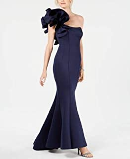 BETSY & ADAM Womens Navy Gown Ruffled Scuba Strapless Maxi Mermaid Evening Dress US Size: 14