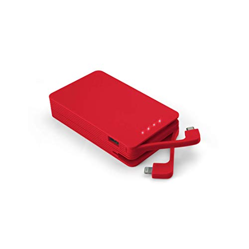 Juice Weekender High Capacity Portable Power Bank with Built In Connectors, iPhone, Samsung, Huawei, iPad, 8400 mAh, Red