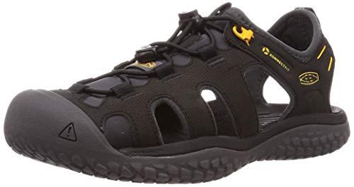 KEEN Men's SOLR High Performance Sport Closed Toe Water Sandals, Black/Gold, 12