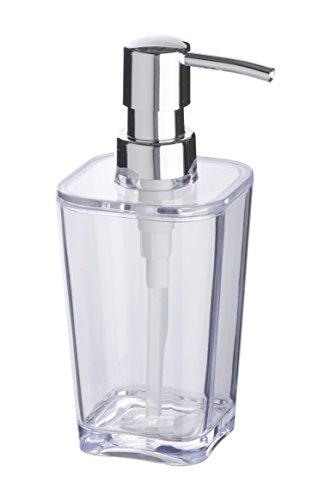 WENKO Seifenspender Candy Transparent - Flüssigseifen-Spender, Spülmittel-Spender Fassungsvermögen: 0.33 l, Polystyrol, 8.8 x 17.4 x 7.3 cm, Transparent