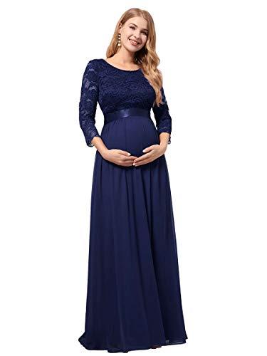 Ever-Pretty Robe de Soirée Enceinte Longue Femme en Dentelle Manches 3/4 Robe en Maternité Grossesse Élégante Bleu Marine 50