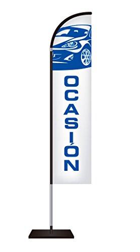 Fly Banner Tipo Vela Automoción | Banderola publicitaria | Talla S Medidas totales: 50x245cm (ancho x alto) | Banderola publicitaria tipo Fly banner talla S | Varios Colores | Blanco y texto azul |