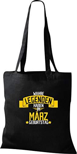 Shirtstown Shopping Bag Orgánico Zen, Shopper Verdadero Leyendas Haben en Marzo Cumpleaños - Negro, 37 cm x 42 cm