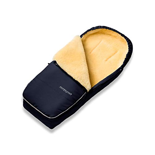 Hofbrucker Alaska - Saco de abrigo de piel de cordero para cochecito y silla de paseo azul marino