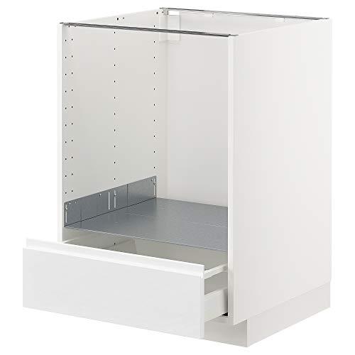 METOD/MAXIMERA Mueble base para horno con cajón 60x62.1x88 cm blanco/Voxtorp alto brillo/blanco
